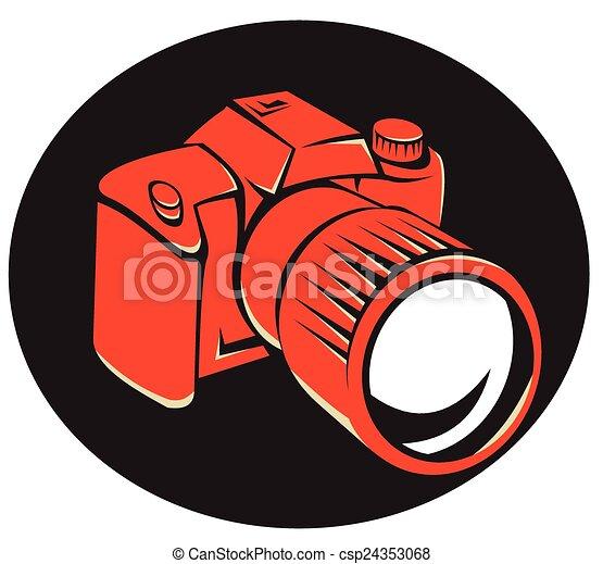 devant, appareil-photo numérique, retro, dslr - csp24353068