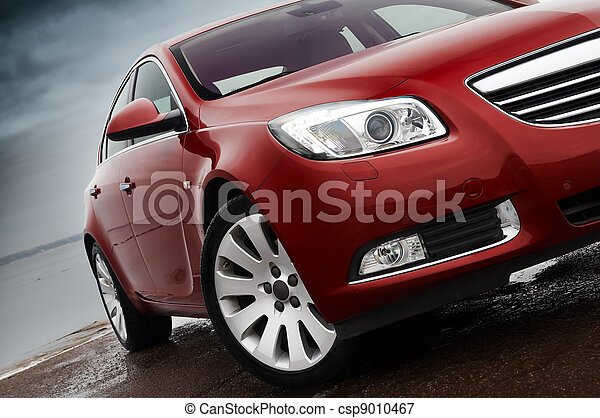 devant, cerise, détail, voiture rouge - csp9010467