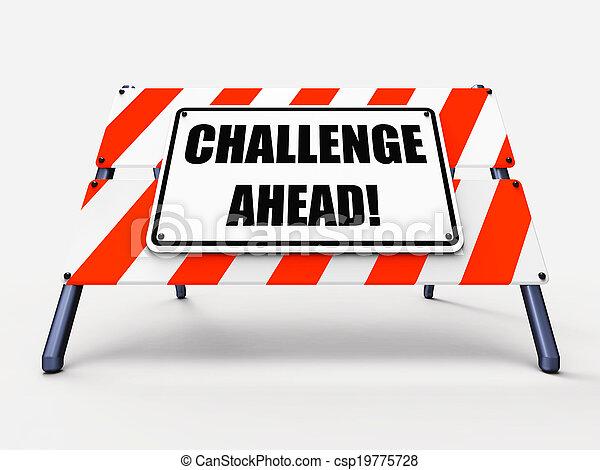 devant, défi, ou, difficulté, signe, projection, surmonter - csp19775728