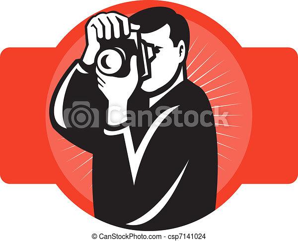 devant, photographe, viser, appareil photo, slr - csp7141024