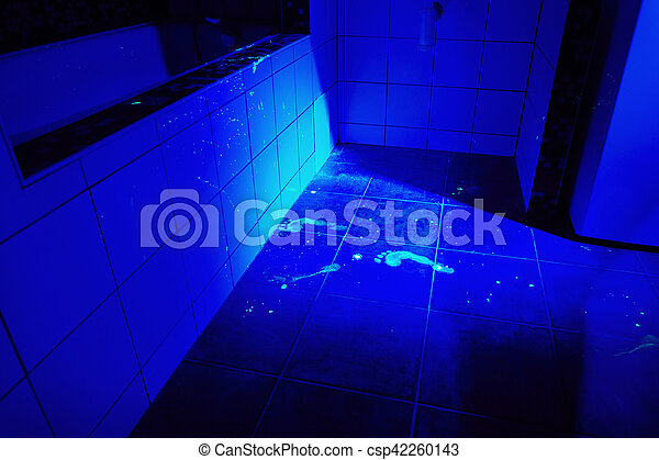 developing of blood stains and footprints with uv light cleaned rh canstockphoto com uv light bulbs for bathroom