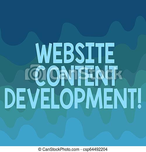 La escritura manual conceptual muestra el desarrollo del contenido del sitio web. Proceso de texto de negocios de la emisión de información que los lectores encuentran útil onda multicolor espacio copiado en blanco para la presentación de anuncios de tarjetas. - csp64492204