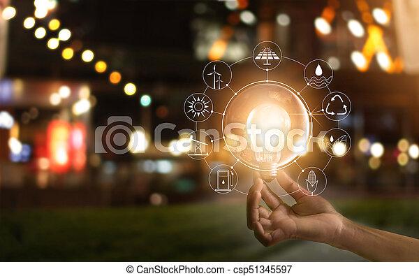 development., ショー, エネルギー, 世界的である, nasa., 源, エコロジー, 消費, アイコン, concept., 供給される, 世界, 保有物, イメージ, 要素, 手, 前部, 電球, 回復可能, これ, ライト, 支持できる - csp51345597