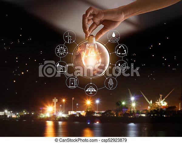 development., ショー, エネルギー, 世界的である, nasa., 源, エコロジー, 消費, アイコン, concept., 供給される, 世界, 保有物, イメージ, 要素, 手, 前部, 電球, 回復可能, これ, ライト, 支持できる - csp52923879
