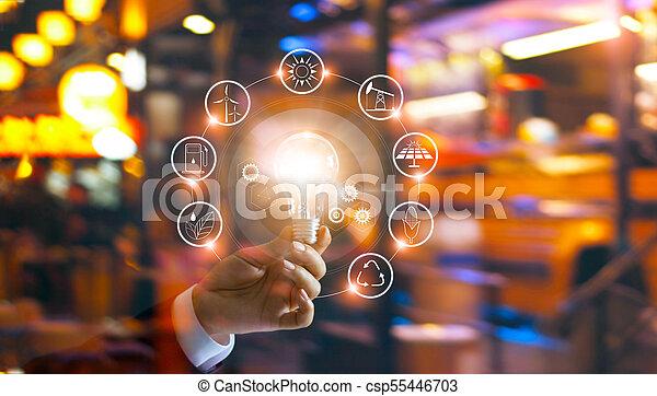 development., 消費, ショー, ライト, エネルギー, 世界的である, 世界, 手, 源, エコロジー, 支持できる, 保有物, 電球, 前部, アイコン, 回復可能, concept. - csp55446703