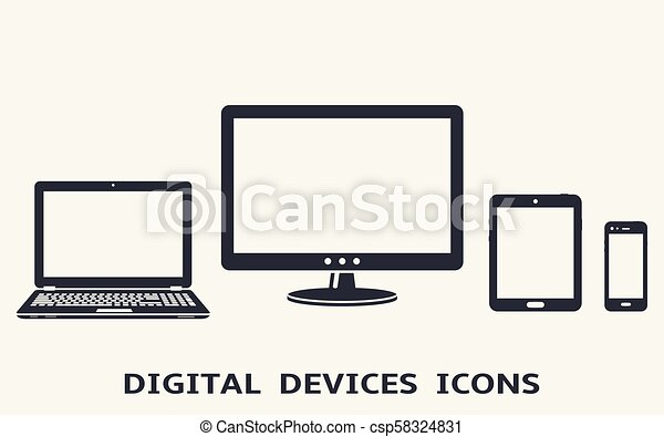 Device icons set: smart phone, tablet, laptop and computer monitor. Vector illustration of responsive web design. - csp58324831