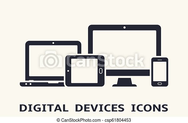 Device icons: smart phone, tablet, laptop and desktop computer. Vector illustration of responsive web design. - csp61804453