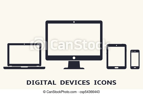 Device icons: smart phone, tablet, laptop and desktop computer. Vector illustration of responsive web design. - csp54366443