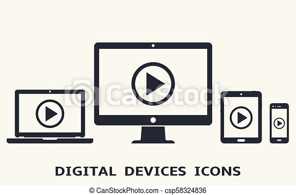 Device icons: smart phone, tablet, laptop and desktop computer with play button on screen. Vector illustration of responsive web design. - csp58324836