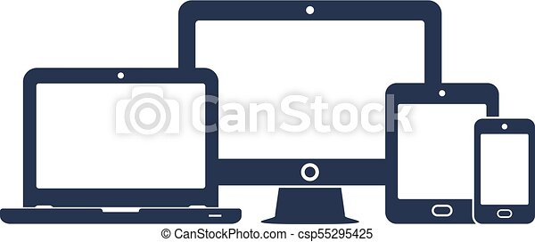 Device icons: smart phone, tablet, laptop and desktop computer. Vector illustration of responsive web design. - csp55295425