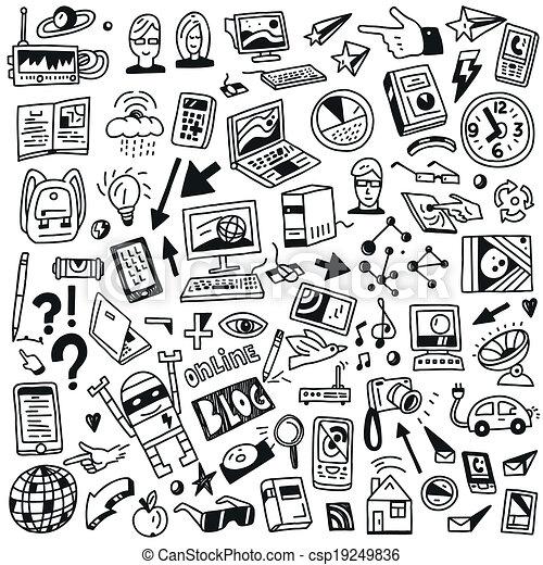 Devices , computers, technology - doodles set - csp19249836