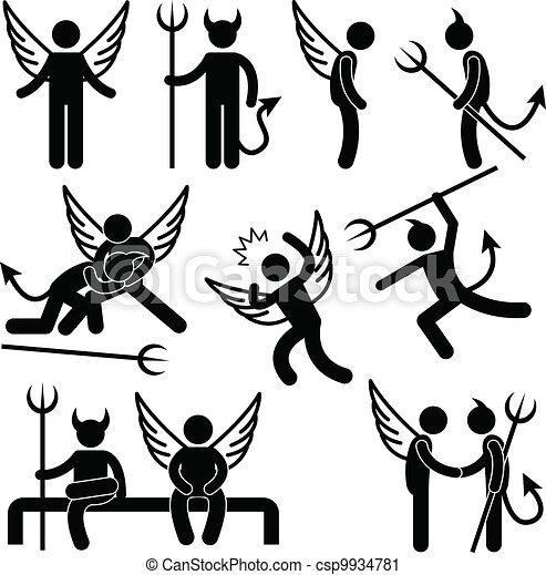 Devil Angel Friend Enemy Symbol - csp9934781