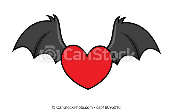 Line Art Of Heart : Devil heart flying. drawing art of flying evil with vector