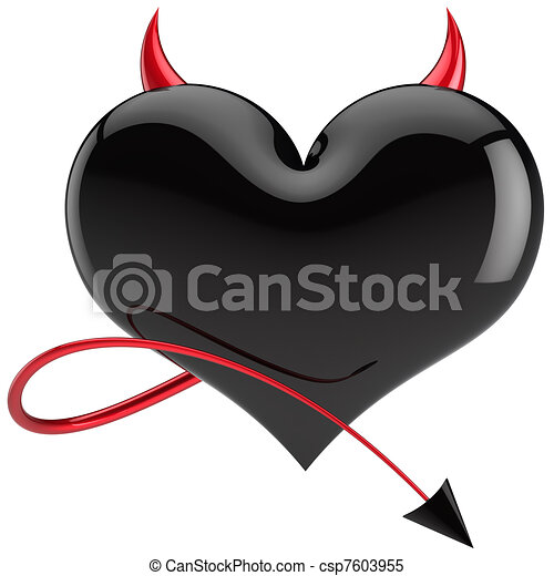 Devil heart shape black Love - csp7603955