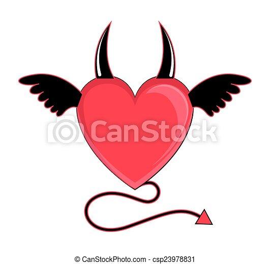 devil heart vector cartoon devil bad heart flying vector illustration
