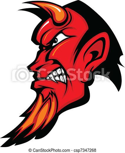 Devil Mascot Vector Profile with Ho - csp7347268