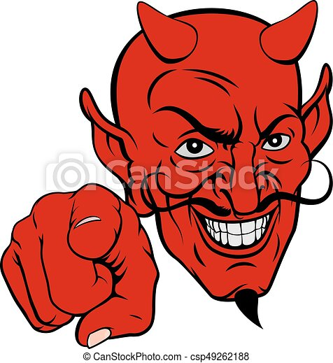 devil pointing cartoon character an evil looking devil cartoon