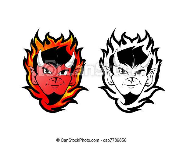 Line Art Clipart : Devil satan clip art fire background with devils tattoo stock
