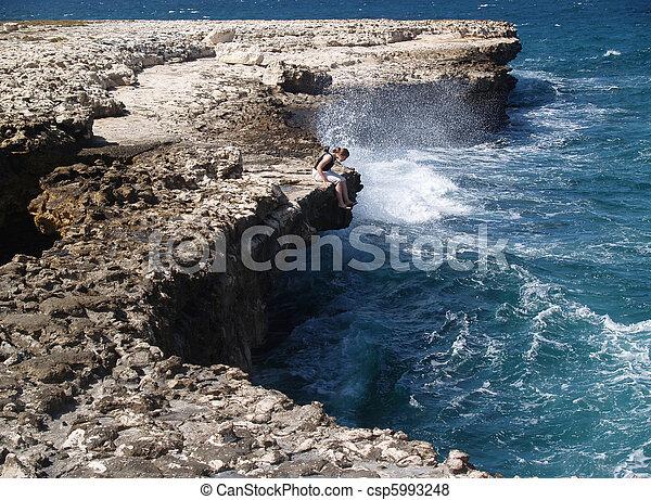 Devils Bridge with tourist Antigua - csp5993248