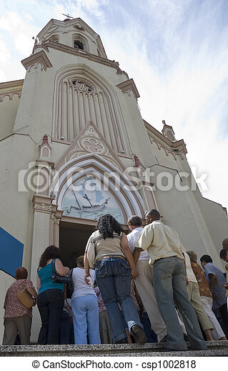 Devotees Entering Church - csp1002818