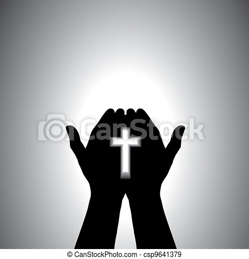 Devout christian worshipping with cross in hand  - csp9641379