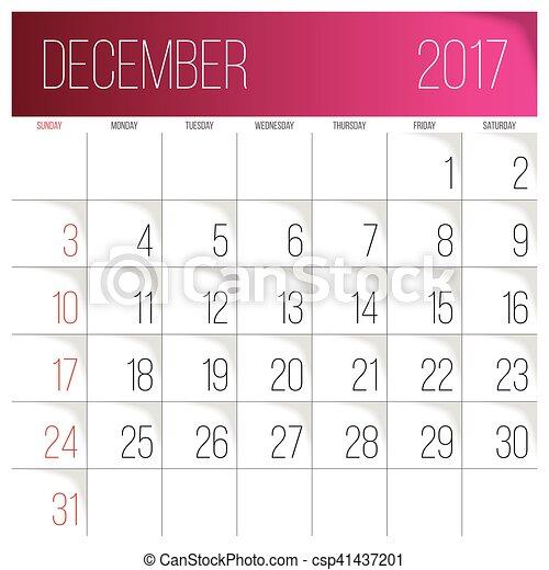 Dezembro 2017 Calendário Modelo Semana 2017 December Começa