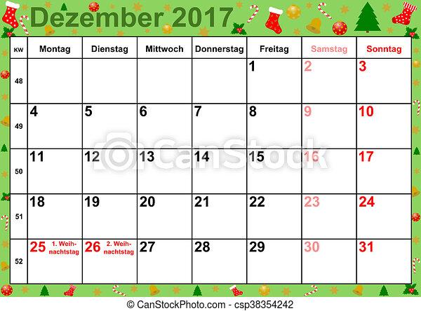 Dezembro Calendário Meses Alemanha 2017 Natal Fundo Coloridos