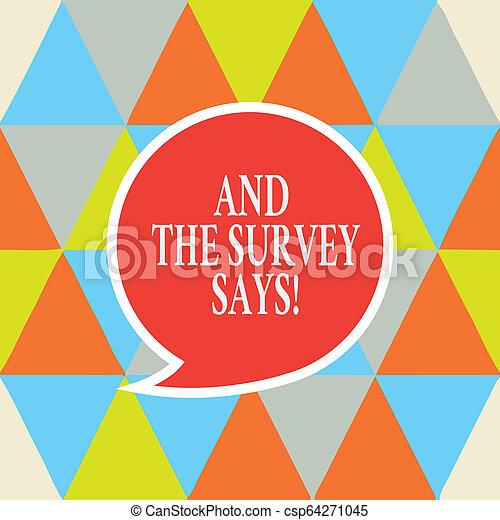 La nota de escritura muestra y la encuesta dice. La foto de negocios muestra resultados de las encuestas que muestran burbujas de habla de retroalimentación con la caja de diálogos de texto de la frontera vacía. - csp64271045