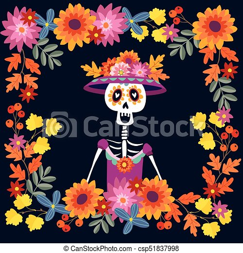 Dia De Los Muertos Greeting Card Invitation Mexican Day Of The Dead Floral Frame Made Mums