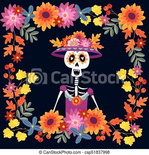 Dia De Los Muertos Greeting Card Invitation Mexican Day Of The
