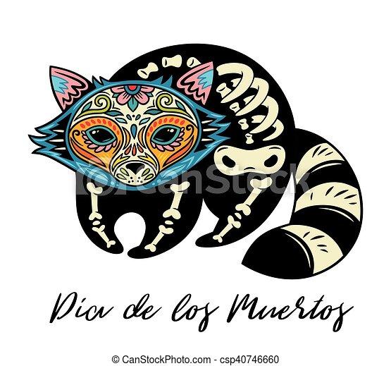 Dia de los muertos greeting card with sugar skull raccoon greeting dia de los muertos greeting card with sugar skull raccoon csp40746660 m4hsunfo