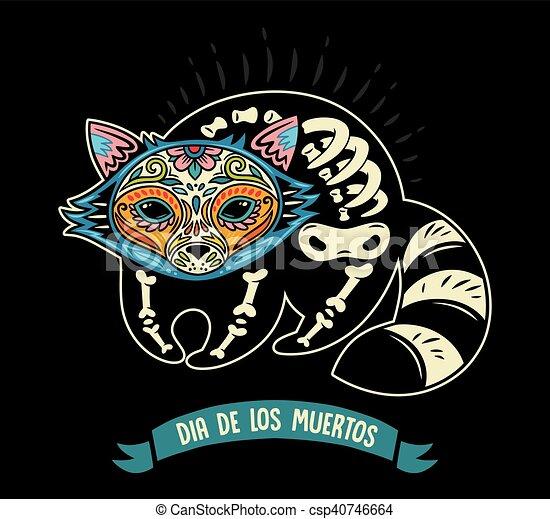 Dia de los muertos greeting card with sugar skull raccoon greeting dia de los muertos greeting card with sugar skull raccoon csp40746664 m4hsunfo