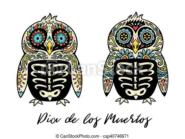 Dia de los muertos greeting card with sugar skull penguins dia de los muertos greeting card with sugar skull penguins csp40746671 m4hsunfo