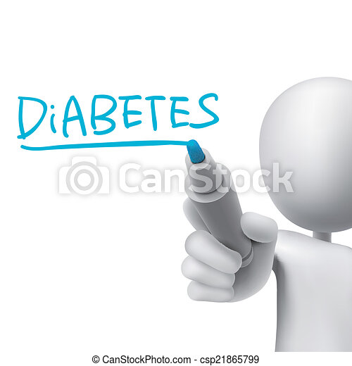 diabetes word written by 3d man - csp21865799