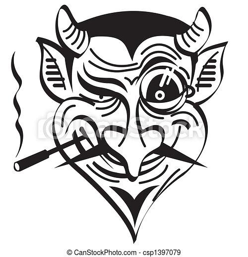 diable, art, agrafe, mal, graphique, satan - csp1397079