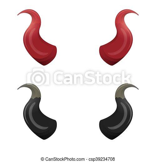 Diable isol vecteur noir cornes rouges halloween isol mal d mon vecteur noir white - Dessiner un diable ...