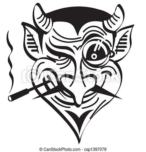 diabo, arte, clip, mal, gráfico, satã - csp1397079