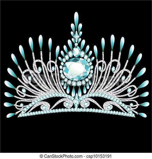 diadem corona feminine wedding with blue stone - csp10153191