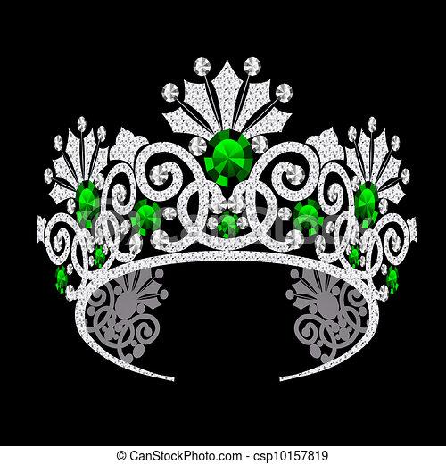 diadem corona feminine wedding with emerald - csp10157819