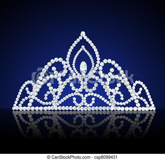 diadem feminine wedding with diamond on dark - csp8099431
