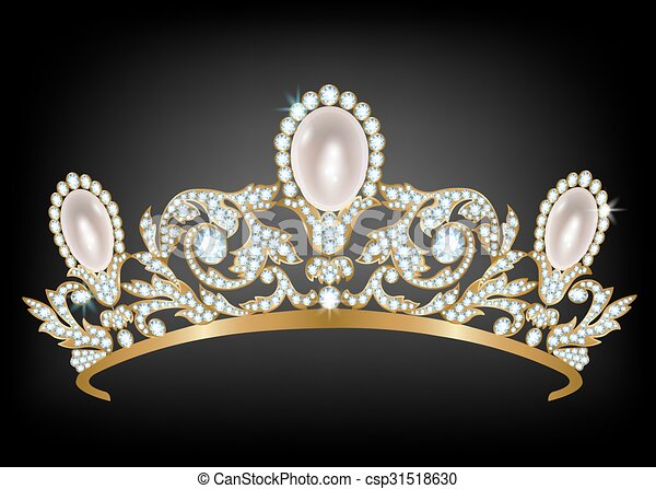 Diadem with diamonds and pearls - csp31518630