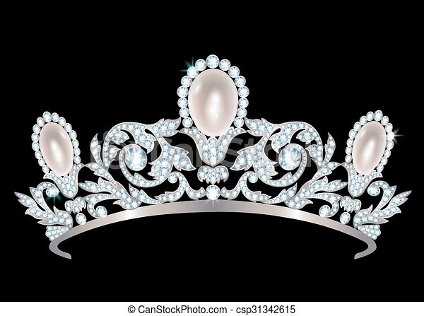 Diadem with diamonds and pearls - csp31342615