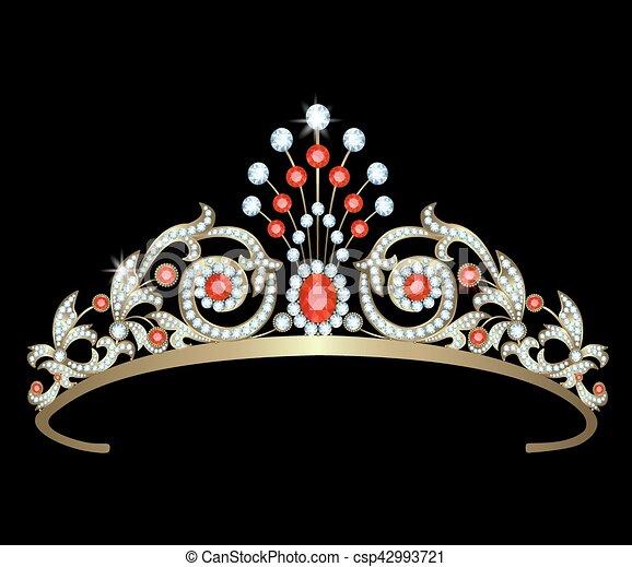 rubini sfondo nero diadema diamanti illustrazione
