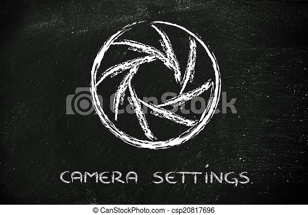 diaframma, fotografia, macchina fotografica, disegno, scuola - csp20817696