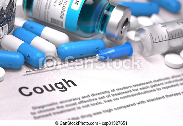 diagnosis., orvosi, köhög, concept. - csp31327651
