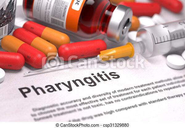 diagnosis., orvosi, pharyngitis, concept. - csp31329880