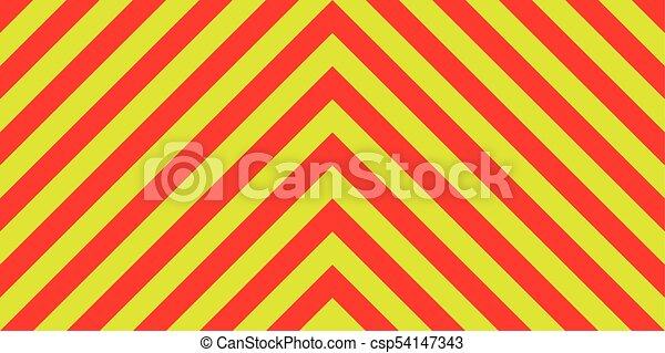 diagonal, emergência, ambulância, listras, sinal amarelo, aviso, tráfego, fundo, diagonalmente, segurança, listras, vermelho - csp54147343