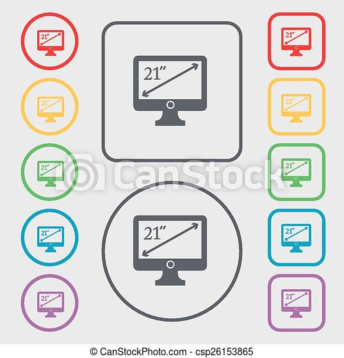 Diagonal Of The Monitor 21 Inches Icon Sign Symbol On The Round And