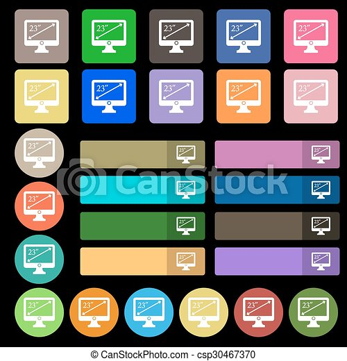 diagonal of the monitor 23 inches icon sign. Set from twenty seven multicolored flat buttons. Vector - csp30467370