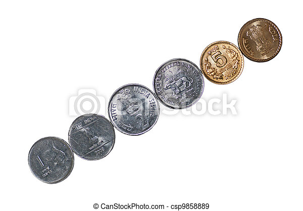 Diagonal row Indian Coins isolated on white copy space - csp9858889